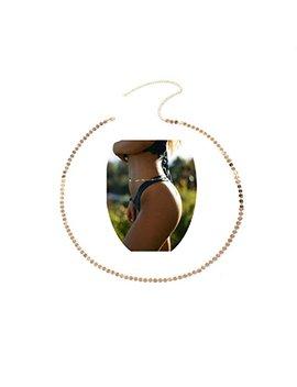 Sunscsc Women Sexy Golden Sequins Body Belly Waist Chain Bikini Beach Body Jewelry by Sunscsc