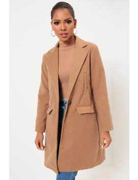 Camel Button Front Boyfriend Coat by I Saw It First