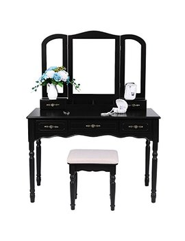 Bewishome Vanity Set With Large Tri Folding Mirror & Cushioned Stool Vanity Desk Dressing Makeup Table 5 Drawers 2 Dividers Desk Organizer Black Fst03 H by Bewishome