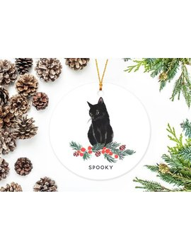Black Cat Ornament With Berry Branch by Etsy