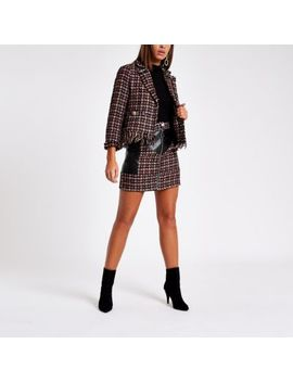 red-check-faux-leather-block-mini-skirt by river-island