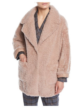 Curly Hair Shearling & Suede Reversible Coat W/ Pockets by Brunello Cucinelli