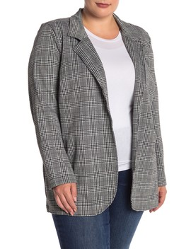 Fitted Knit Houndstooth Long Blazer (Plus Size) by Rdi