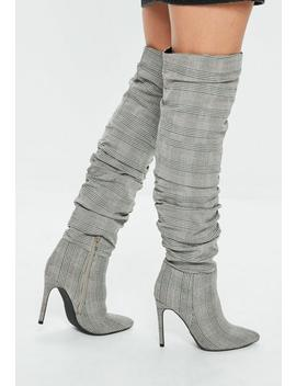 Grey Ruched Check Print Pointed Boots by Missguided