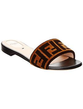 Fendi Embroidered Leather Slide Sandal by Fendi
