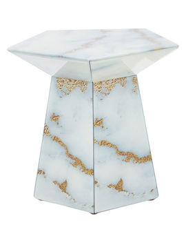 Marble & Glass Side Table 36x39cm by