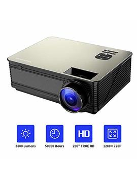 Home Theater Projector Hd 1080 P Supported, Poner Saund M5 3800 Lumens Full Hd Home Projector 200'' Lcd Video Projector Built In Speakers Support Ipad, Fire Tv Stick, Ps4, Hdmi, Vga, Tf, Usb by Poner Saund