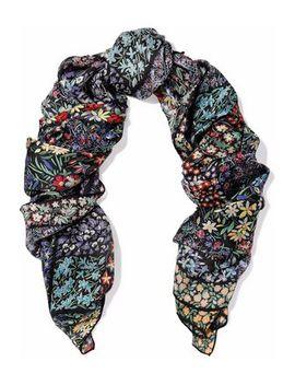 Floral Print Silk Chiffon Scarf by Valentino