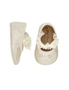 Leather Ruffle Trim Christening Booties, Baby by Pili Carrera