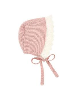Two Tone Knit Baby Bonnet With Mohair Trim by Pili Carrera