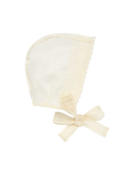 Silk Organdy Scalloped Trim Baby Bonnet by Pili Carrera
