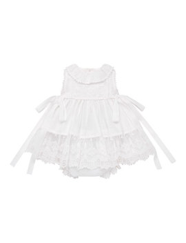 Sleeveless Lace Hem Dress W/ Bloomers, Size 6 M 2 by Pili Carrera