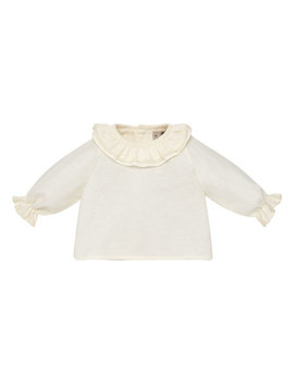 Ruffle Collar Cotton Blouse, Size 1 12 Months by Pili Carrera