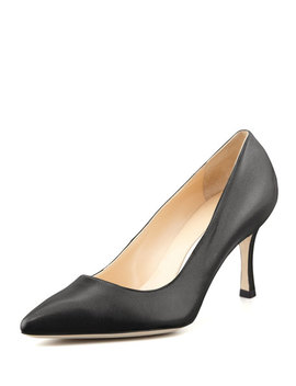 Bb Leather 70mm Pump, Black (Made To Order) by Manolo Blahnik