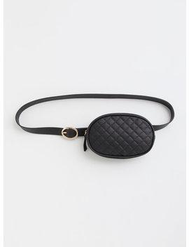 Black Oval Quilted Belt Bag by Torrid