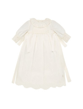 Long Sleeve Embroidered Christening Gown W/ Bloomers & Bonnet, Size 3 6 Months by Pili Carrera