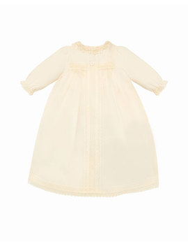 Long Sleeve Silk Organdy Christening Gown W/ Bloomers & Bonnet, Size 3 6 Months by Pili Carrera