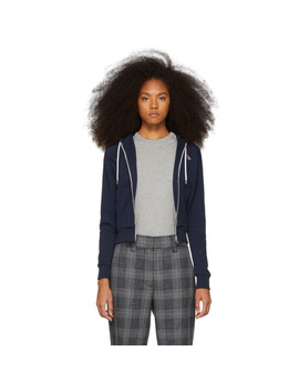 Navy Tricolor Fox Patch Zip Up Hoodie by Maison KitsunÉ