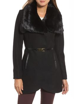Faux Fur Collar Wool Blend Coat by French Connection