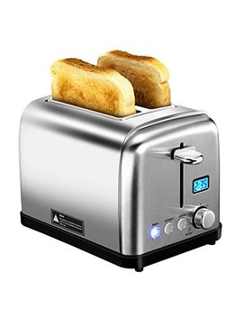 2 Slice Toaster, Holife Stainless Steel Toaster Two Slice Bagel Toaster With 6 Bread Shade Settings, Bagel/Defrost / Reheat/Cancel Function, Extra Wide Slots, Removable Crumb Tray, 900 W, Silver by Holife