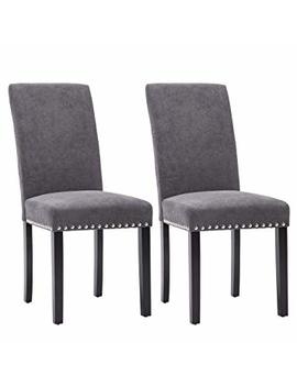 Lsspaid Upholstered Parsons Dining Chair Polished Nailhead Wood Legs In Gray,Set Of 2 by Lsspaid