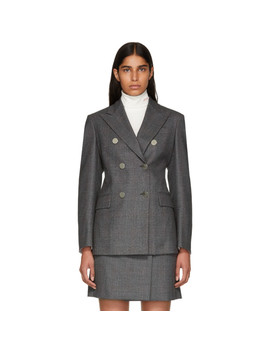 Grey Wool Fancy Small Check Blazer by Calvin Klein 205 W39 Nyc