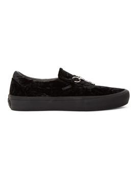 Black Vans Edition Velvet Slip On V Sneakers by Needles