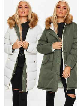 Khaki Reversible Padded Parka Jacket by Missguided