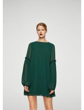 Φόρεμα μανίκι βολάν by Mango