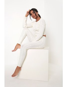 Cream Cable Knit Loungewear Set by I Saw It First