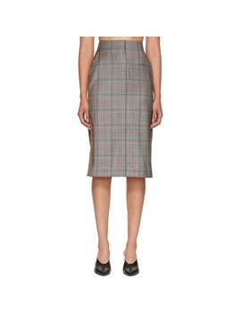 Black & White Wool Classic Glen Plaid Skirt by Calvin Klein 205 W39 Nyc