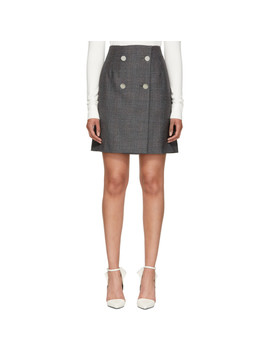 Grey Wool Fancy Small Check Skirt by Calvin Klein 205 W39 Nyc