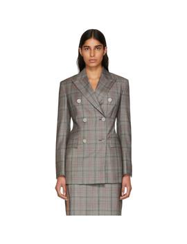 Black & White Wool Classic Glen Plaid Blazer by Calvin Klein 205 W39 Nyc