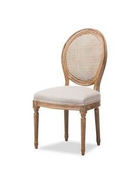 Adelia French Vintage Cottage Weathered Oak Wood Finish And Fabric Upholstered Dining Side Chair With Round Cane Back   Beige   Baxton Studio by Baxton Studio