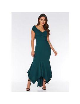 Quiz   Bottle Green Bardot Maxi Dress by Quiz