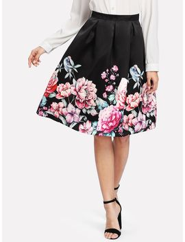 Boxed Pleated Flower Print Skirt by Shein