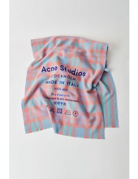 Checked Logo Scarf Mint/Salmon by Acne Studios