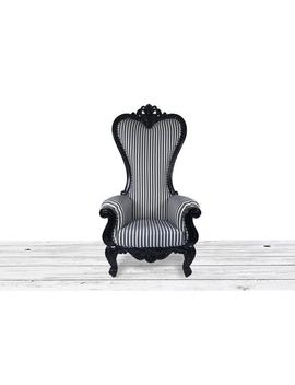 Black White Striped Throne Chair. Tufted High Back Baroque Throne With Diamonds And Nail Heads. Dope Furniture by Etsy