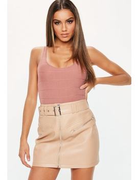 Rose Bandage Scoop Neck Bodysuit by Missguided