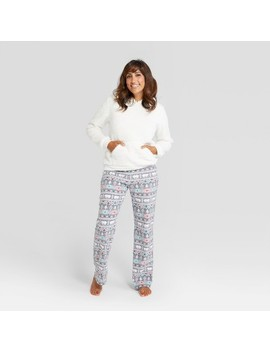 Women's Holiday Fuzzy Bear Fair Isle Pajama Set   Wondershop™ White by Shop This Collection