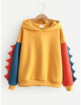Contrast Sleeve Hooded Sweatshirt by Sheinside