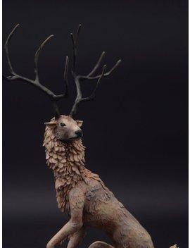 White Deer Original Creature Figurine Sculpture Ooak Art Doll Toy Animal by Etsy