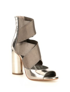 Briana Metallic Banded Block Heel Dress Sandals by Donna Karan