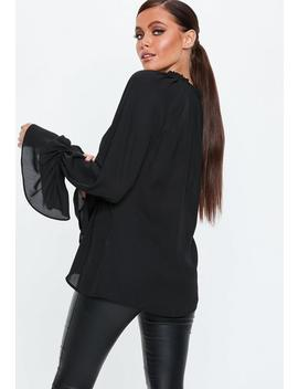 Black Balloon Sleeve Tie Neck Blouse by Missguided