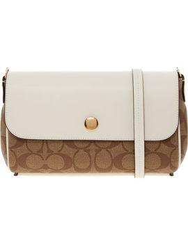 White & Brown Designer Shoulder Bag by Coach