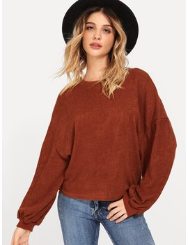 Drop Shoulder Solid Sweater by Romwe