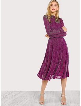 Mock Neck Glitter Fit & Flare Dress by Shein