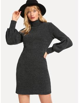 Bishop Sleeve High Neck Sweater Dress by Romwe