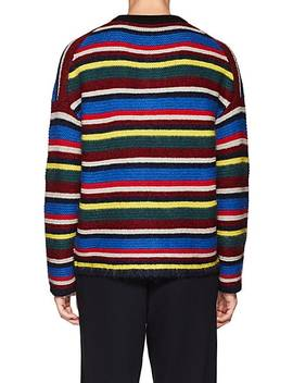 Tiger Embroidered Striped Wool Blend Sweater by Kenzo