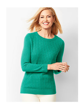 Cable Crewneck Sweater by Talbots